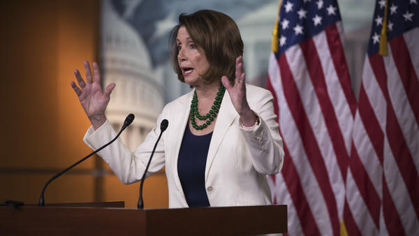 "House Minority Leader Nancy Pelosi, D-Calif., at a news conference on Thursday, where she called the Pennsylvania special election this week an ""upset"" win and hopes that Democrat Conor Lamb will be sworn in soon."