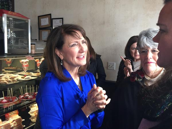 Democratic candidate Marie Newman speaks with supporters at a campaign event in Illinois's 3rd Congressional District. Newman is a political newcomer challenging Rep. Dan Lipinski in the March 20 primary.