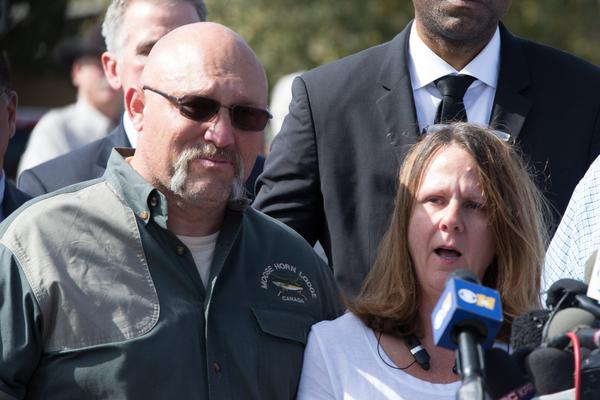 Pastor Frank Pomeroy and his wife Sherri speak at a press conference on Nov. 6, 2017 at the First Baptist Church in Sutherland Springs, Texas, following a mass shooting that left 26 people dead, including their 14-year-old daughter. (Suzanne Cordeiro/AFP/Getty Images)