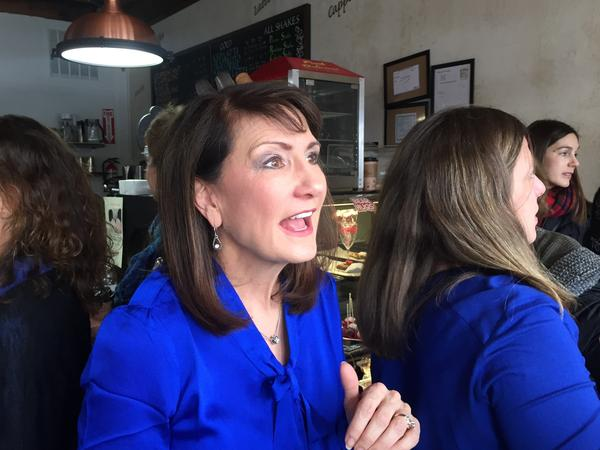 Democrat Marie Newman speaks with supporters at a campaign event in La Grange, Ill.
