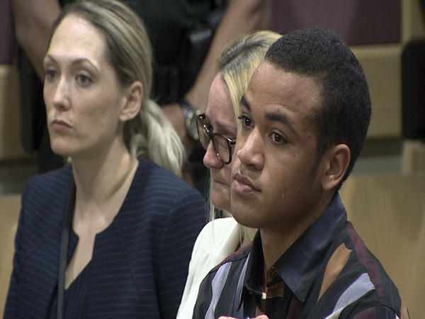 Zachary Cruz crying as his brother, Nikolas Cruz is arraigned in Fort Lauderdale, Fla.