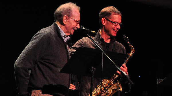 Poet Philip Levine (left) and saxophonist Benjamin Boone were both teaching at California State University, Fresno when they began working together on what would become <em>The Poetry Of Jazz.</em>