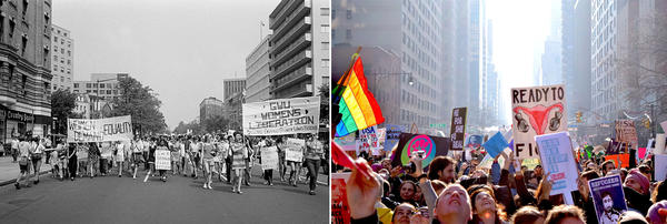 <strong>Activism then and now (from left)</strong>: Women's Liberation march in Washington, DC in 1970; The Women's March in New York CIty in 2017.