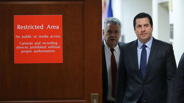 House intelligence committee Chairman Devin Nunes, R-Calif., leaves the committee's secure meeting rooms at the U.S. Capitol on February 6, 2018, followed by Rep. Peter King, R-N.Y.