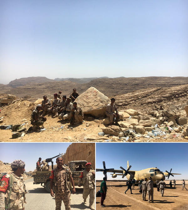 A Yemeni army checkpoint (top) overlooks the road to the rebel-held capital, Sanaa. Yemeni government soldiers (bottom left) set up on a road leading toward Sanaa. A Saudi Arabian military aircraft lands just outside the city of Marib.