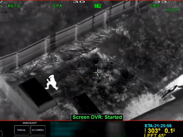A still from police helicopter video footage of the officer-involved shooting of 22-year-old Stephon Clark on Sunday in Sacramento.