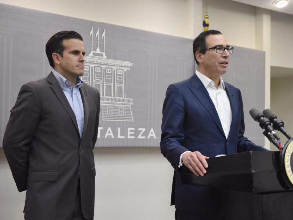 Puerto Rico Gov. Ricardo Rossello and U.S. Treasury Secretary Steven Mnuchin announced a deal that would allow billions of dollars in federal disaster recovery loans to start flowing to the hurricane-devastated island.