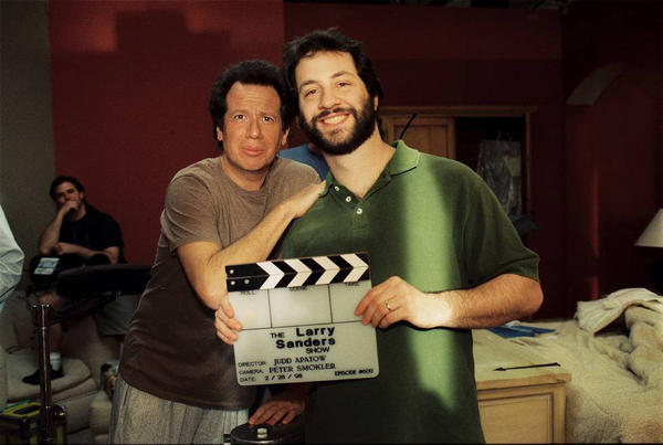 Garry Shandling and Judd Apatow pose on the set of <em>the Larry Sanders Show.</em>