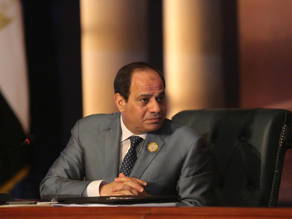 Egyptian President Abdel Fattah al-Sisi chairs an Arab foreign ministers meeting during an Arab summit in 2015. Sisi's widely expected victory in the March 26 to 28 polls is seen both as an endorsement by many Egyptians of his hardline security policies and economic aims and the effective crushing by state security institutions of almost all dissent.