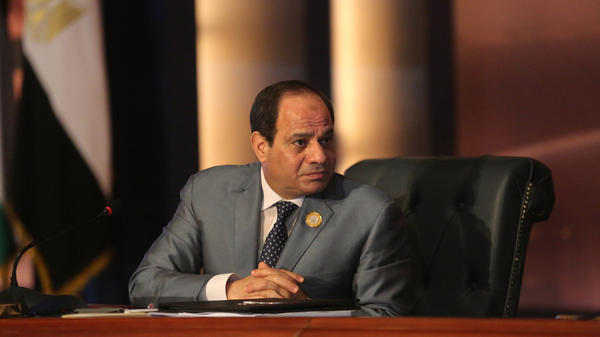 Egyptian President Abdel Fattah al-Sisi leads an Arab foreign ministers meeting in 2015. Sisi's widely expected victory in the March 26-28 polls is seen both as an endorsement by many Egyptians of his hard-line security policies and economic aims, and the effective crushing by state security institutions of almost all dissent.
