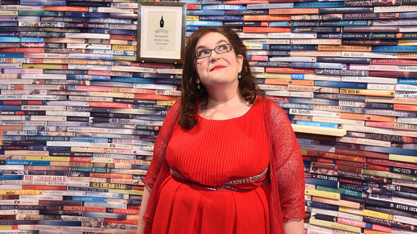 Author Naomi Alderman, whose novel <em>The Power</em> won the 2017 Baileys Women's Prize for Fiction, in front of the Women's Prize Library at the Royal Festival Hall in London.