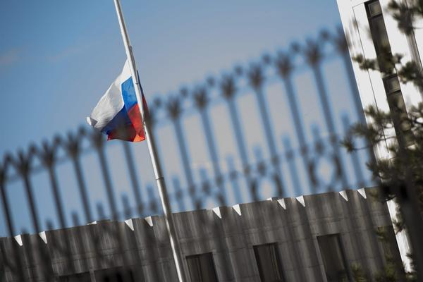 The Russian Embassy is viewed in Washington, D.C., on March 26, 2018. (Jim Watson/AFP/Getty Images)