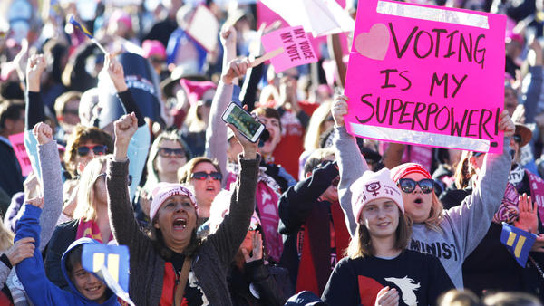 "Attendees cheer a speaker during the Women's March ""Power to the Polls"" voter registration tour launch in Las Vegas on Jan. 21."