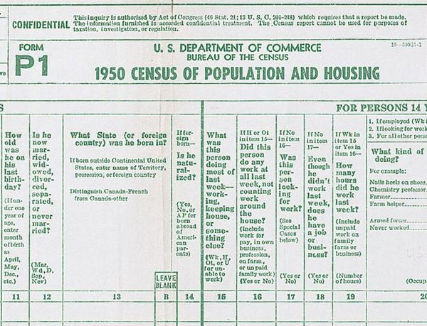 The 1950 census form asked where respondents were born and whether they were naturalized.