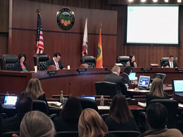 The Orange County Board of Supervisors during a meeting in Santa Ana, Calif., on Tuesday. The board voted to oppose California's sanctuary law for undocumented immigrants.