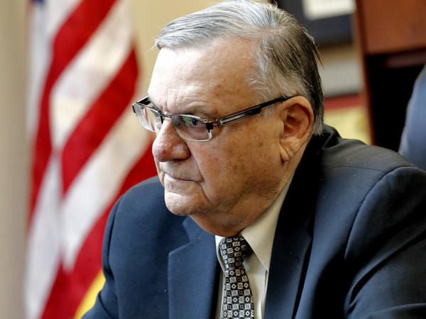 Former Maricopa County Sheriff and U.S. Senate candidate Joe Arpaio speaks at his office in January in Fountain Hills, Ariz.
