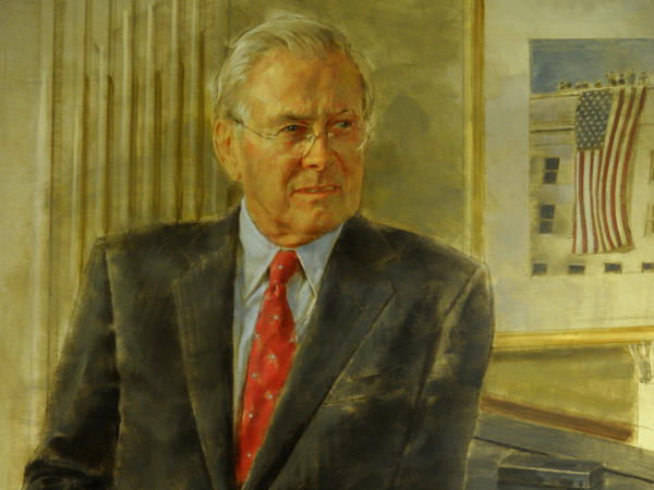A 2017 congressional committee report singled out this picture of Donald Rumsfeld as one example of the high cost of official portraits. Unveiled in 2010, after Rumsfeld's tenure as secretary of defense had ended, this official image — Rumsfeld's second — cost more than $46,000.