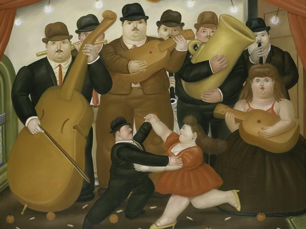 <em>Dancing In Colombia </em>by Fernando Botero.