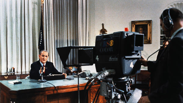 President Lyndon B. Johnson is shown during his nationwide television broadcast from the White House on March 31, 1968.