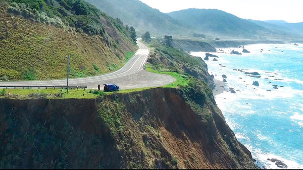 This aerial image from Alameda County Sheriff's Office drone video, courtesy of Mendocino County, shows the pullout where the SUV of Jennifer and Sarah Hart was recovered off the Pacific Coast Highway 1, near Westport, Calif.
