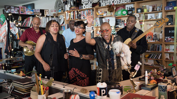 Dee Dee Bridgewater performs a Tiny Desk Concert on August 11, 2017. (Claire Harbage/NPR)