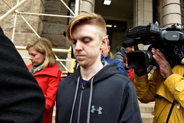 Ethan Couch is surrounded by reporters after he was released from the Tarrant County Jail in Fort Worth, Texas, today.