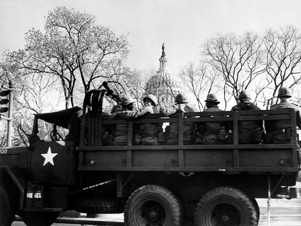 National guard troops patrol outside the Capitol in Washington, D.C. on April 5, 1968, one day after Rev. Martin Luther King Jr. was assassinated.