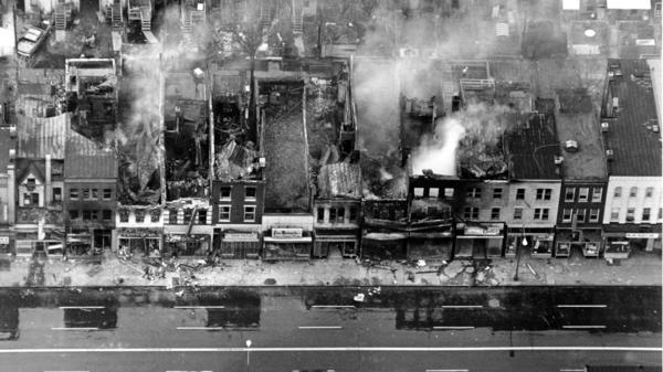 Fire-gutted buildings seen in northeast Washington, D.C. on April 5, 1968, the day after the assassination of Rev. Martin Luther King, Jr.