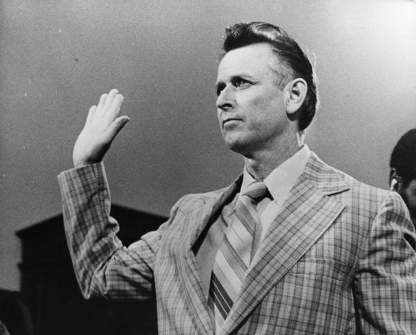 James Earl Ray took the oath before a committee in Washington, D.C. investigating King's assassination.