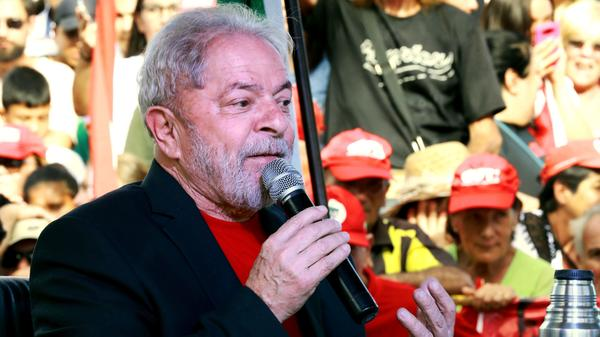 Brazilian former President Luiz Inacio Lula da Silva speaks on March 19 in Brazil. He leads in opinion polls and says the case against him is to prevent him from running for president again.