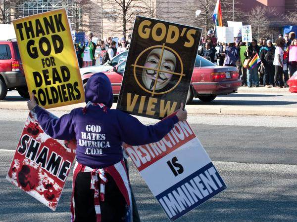 A member of the Westboro Baptist Church faces counterprotesters in 2001 in Maryland.