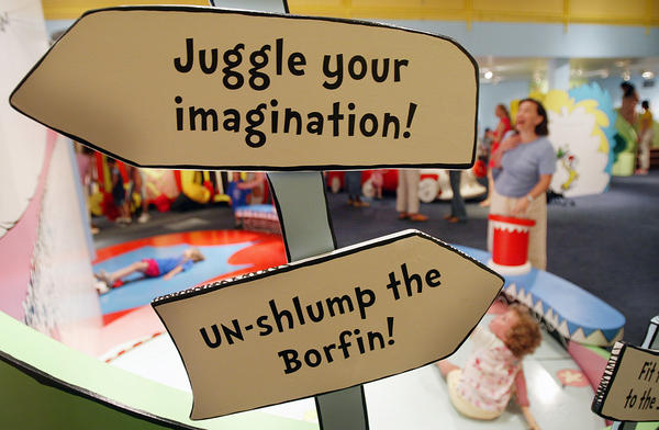 A sign installed at an interactive exhibition dedicated to Dr. Seuss at the Children's Museum of Manhattan on July 6, 2004.
