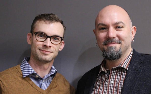 At their StoryCorps interview in New York City, Roman Davis, left, tells his friend Dan Marek about the special delivery that lifted his spirits during wartime.