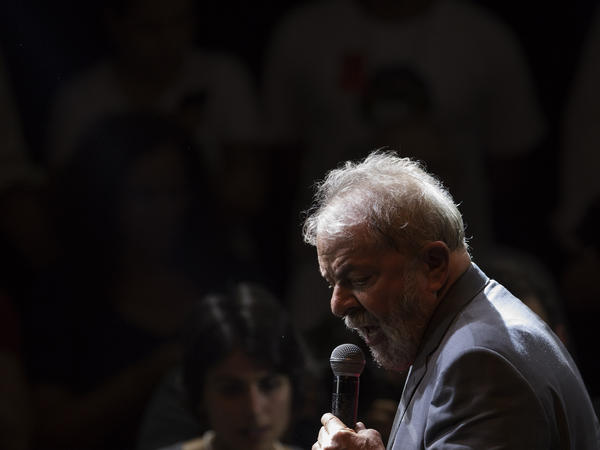 Former Brazilian President Luiz Inacio Lula da Silva speaks at a presidential campaign rally in Rio de Janeiro on Monday.