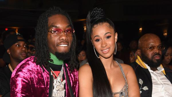 Rappers Offset of Migos and Cardi B attend the BET Hip Hop Awards 2017 in Miami in October 2017.
