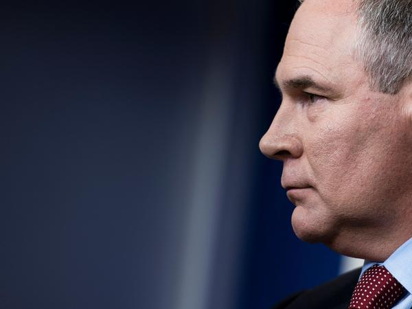 Scott Pruitt speaks during a briefing at the White House last year.
