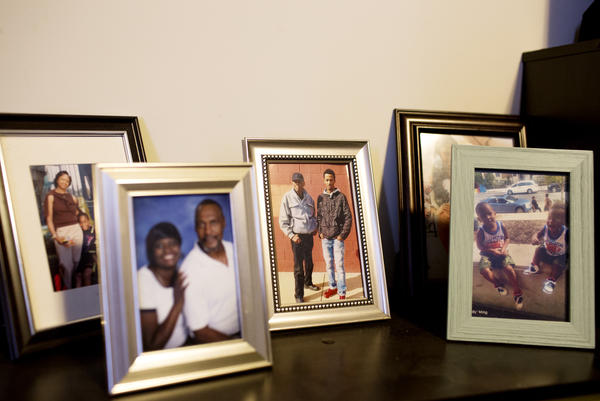 Photos of the Coffin family in Tracy Coffin's home.