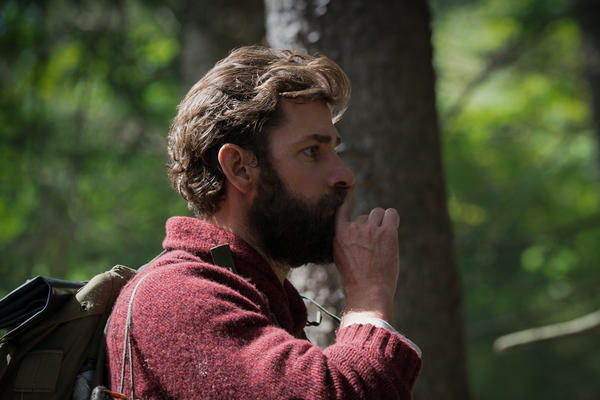 In <em>A Quiet Place, </em>John Krasinski plays Lee Abbott. The movie follows a family that lives in a post-apocalyptic world, where super-hearing creatures will kill them in they make a sound.