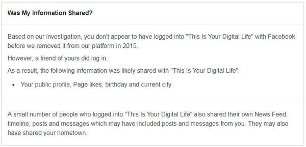 "A privacy notice from Facebook notifies a user that their information was ""likely shared with 'This Is Your Digital Life.' """