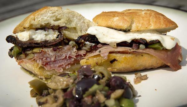 Chef Kathy Gunst's grilled ham and cheese sandwich. (Robin Lubbock/WBUR)