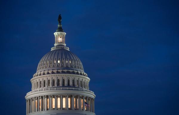 The U.S. Capitol building is seen at dusk in Washington, D.C., Feb. 6, 2018. (Saul Loeb/AFP/Getty Images)