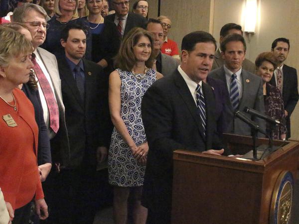 Arizona Gov. Doug Ducey on Thursday announced a 20 percent pay raise by the 2020 school year.