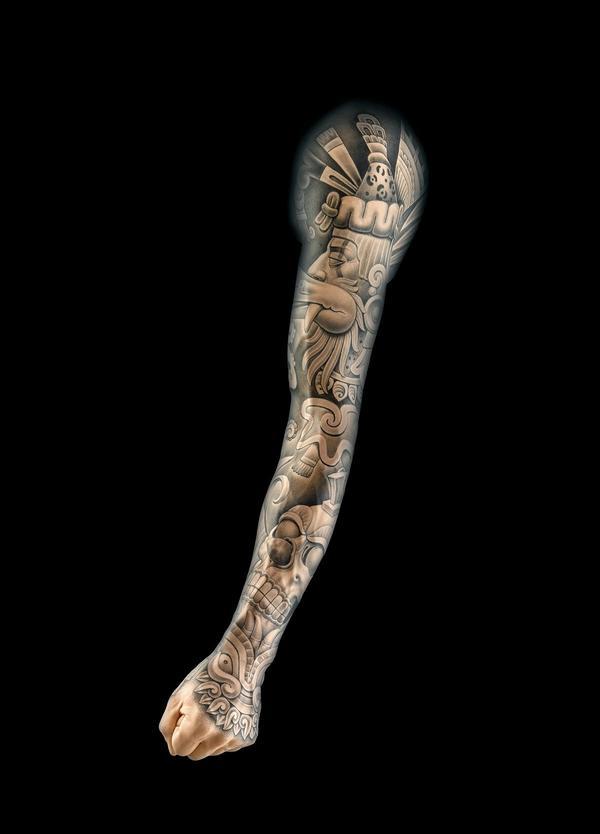 Chuey Quintanar's tattooed silicone arm.