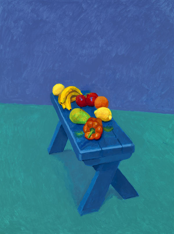 In early March 2014, a friend of Hockney's had to cancel because her father was ill. Hockney's paints were already set up though, so he painted this still life instead.
