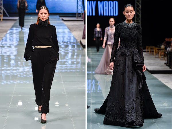 Ultra-feminine fashions by Bibisara (left) and Tony Ward.
