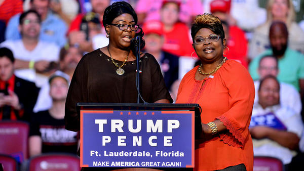Pro-Trump Internet personalities Diamond and Silk speak during a 2016 Trump campaign in Fort Lauderdale, Fla.