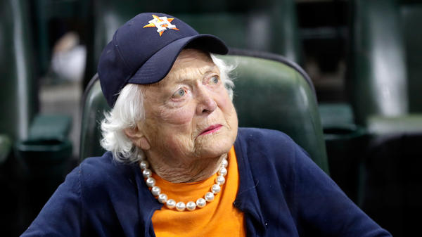 Former first lady Barbara Bush looks on before game five of the 2017 World Series between the Houston Astros and the Los Angeles Dodgers at Minute Maid Park on Oct. 29, 2017, in Houston.