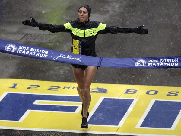 Desiree Linden wins the women's division of the Boston Marathon on Monday. She is the first American woman to win the race since 1985.