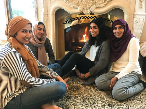 "Noshaba Afzal (right) — with daughters (from left) Maimona Afzal Berta, 23, Sana Afzal, 16, and Honna Afzal, 18 — says bullying of Muslims has become a ""safety issue."""