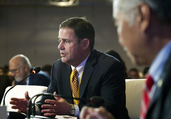 Arizona Gov. Doug Ducey speaks at the panel Pathways to Prosperity during the National Governor Association winter meeting on Sunday, Feb. 25, 2018, in Washington. (AP Photo/Jose Luis Magana)